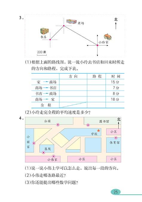 人教版四年级数学下册 位置与方向图片