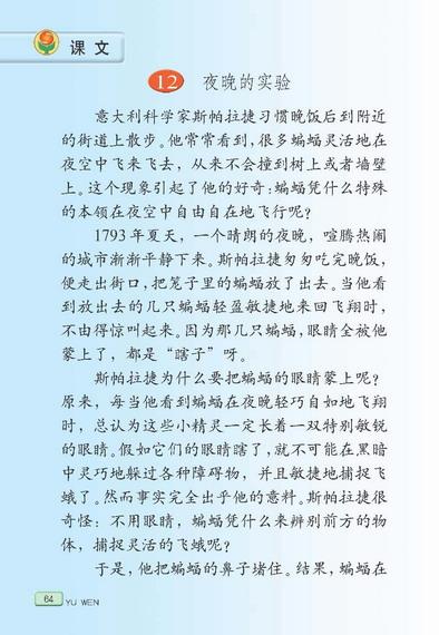 苏教版语文六年级下册课本――夜晚的实验