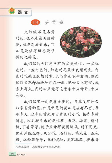 苏教版语文六年级下册课本――夹竹桃