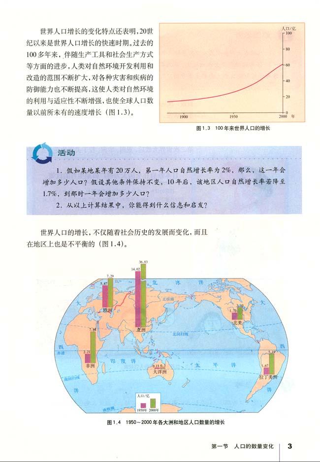 通高中课程标准实验教科书地理必修2 第二节 人口的空间变化