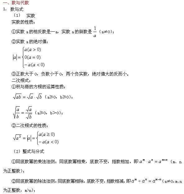 初中數學公式:數與代數一中考數學復習圖片