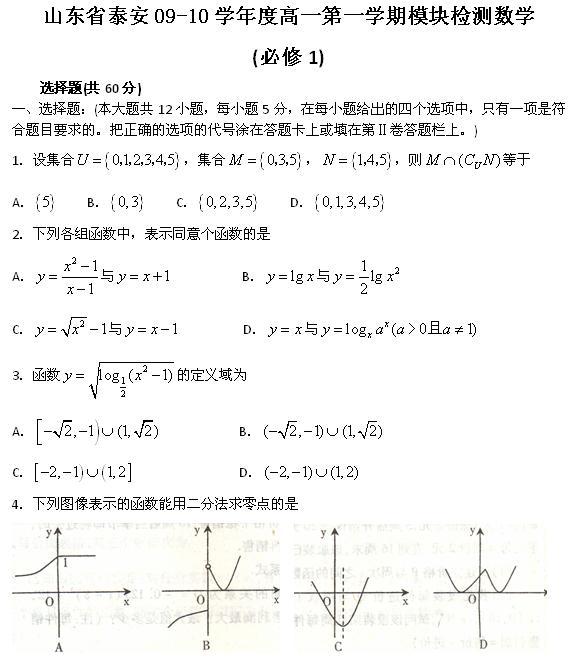09山东泰安高一(上)模块检测数学(必修1)