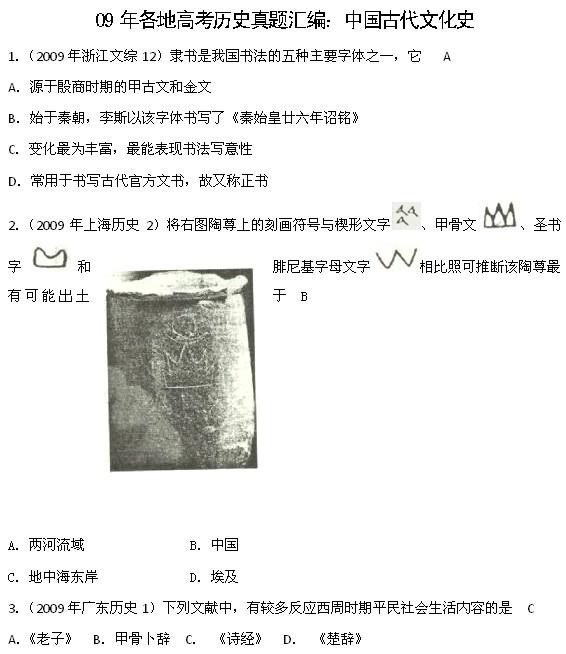 09全国各地高考历史真题分类:中国古代文化史