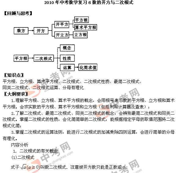 数的开方_2010年中考数学复习6数的开方与二次根式_中考数学_中考网