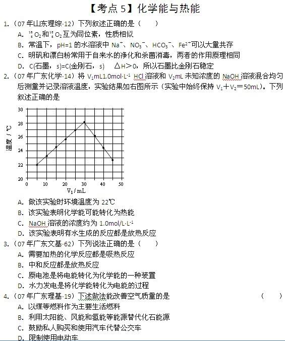 """高考化学真题""""点对点""""练习:化学能与热能"""