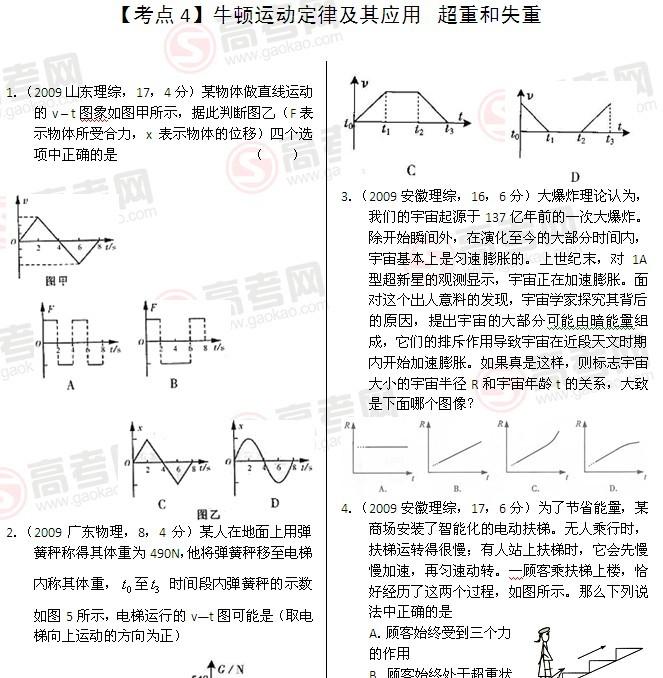 """高考物理真题""""点对点""""练习:牛顿运动定律及其应用"""