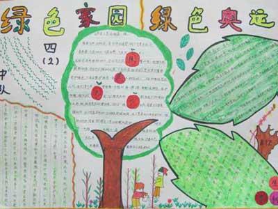小学生植树节手抄报版面设计:绿色家园