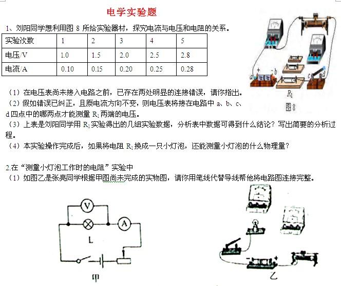 中考物理电学实验专题综合试题