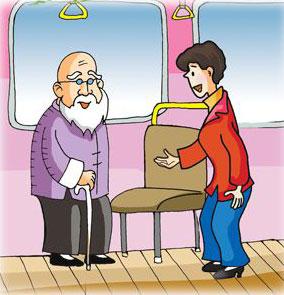 帮助他人的漫画 给老年人让座