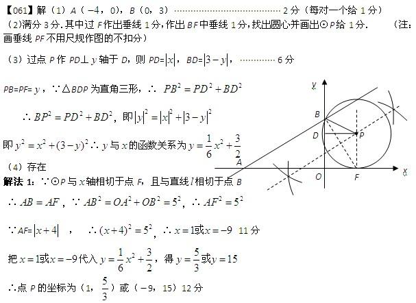 2010年中考数学压轴题100题精选(61-70题)答案