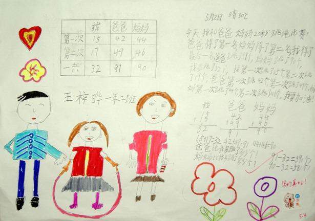 小学一年级数学板报-一年级数学手抄报 我的一家  一年级数学手抄报:我的一家