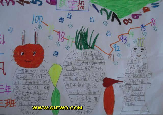 三年级数学手抄报:小小数字报