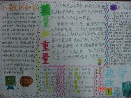 四年级数学手抄报:小数的知识-新东方网