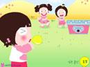 小美女吹气球