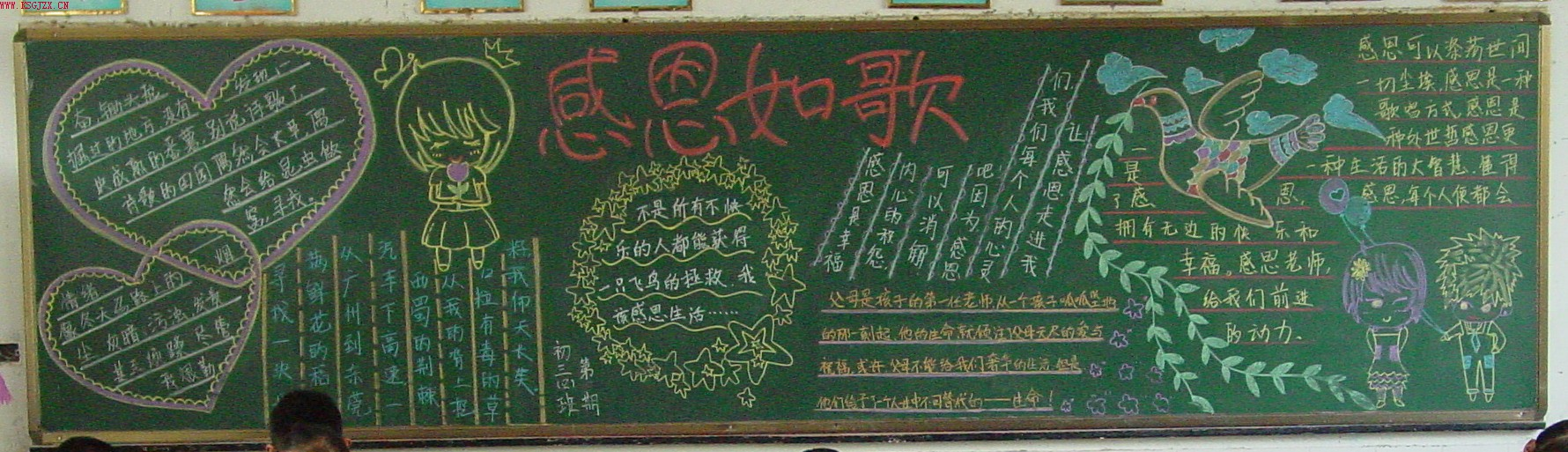 小学生感恩节黑板报:感恩如歌