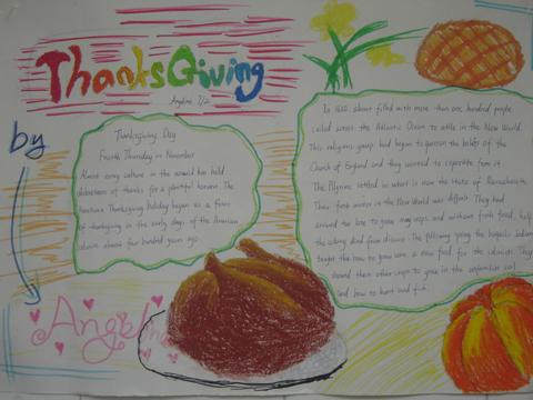 小学二年级英语手抄报:Thanks Giving