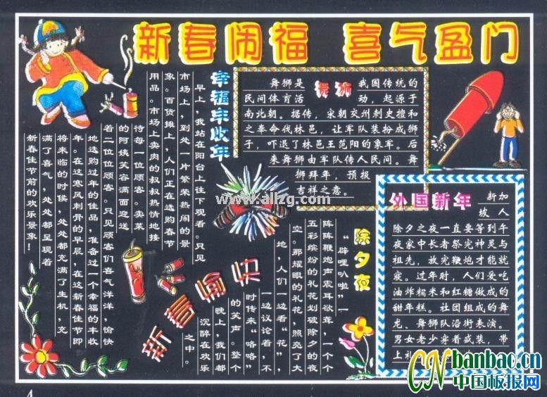 新年黑板报设计图片:新春闹福 喜气盈门