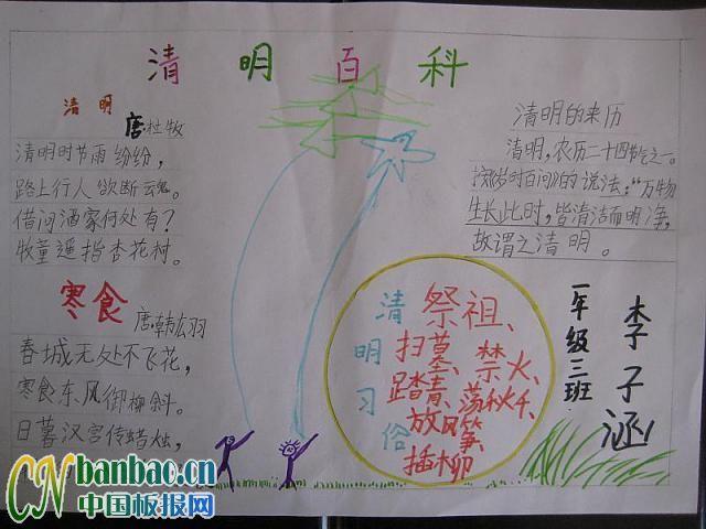 清明节手抄报模板(2)