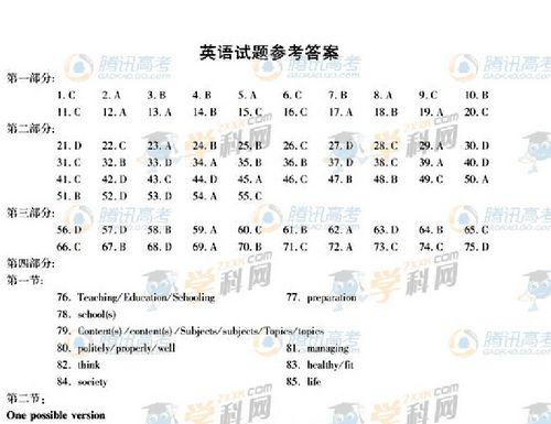 2011年高考安徽卷英语答案