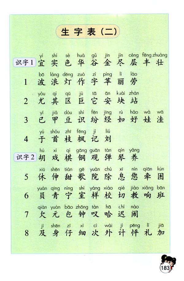 二年级语文上册电子课本 生字表二
