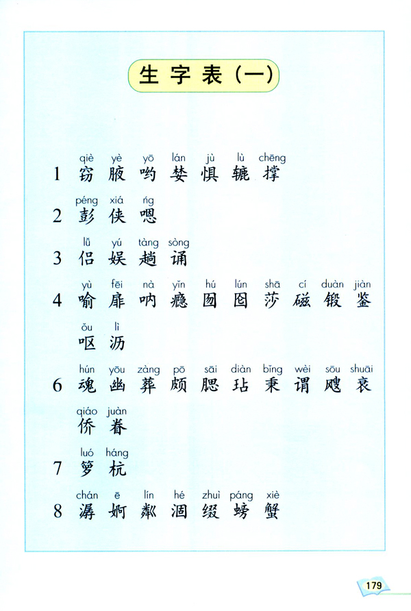 人教版五年级上册语文 生字表一