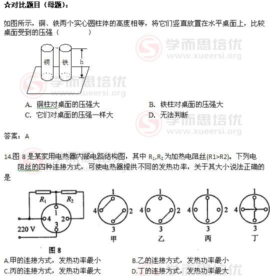 2011年天津中考物理试卷分析