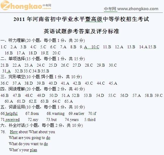 2011年河南中考英语试题答案 中考网