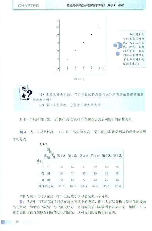高一数学电子课本:高一数学必修1 第一章 1.2.2 函数的表示法