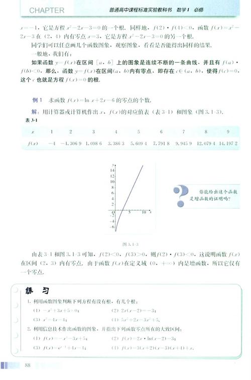 高一数学电子课本:高一数学必修1 第三章 3.1.1 方程的根与函数的零点