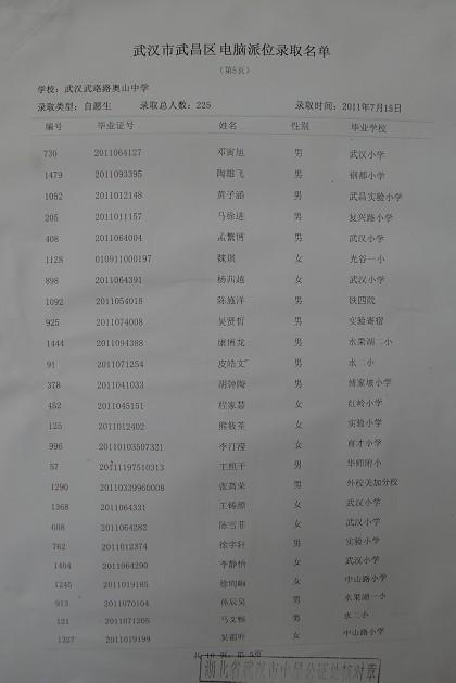 2011小升初:电脑派位 武珞路中学
