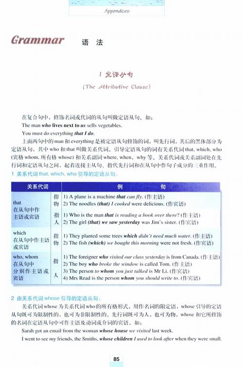 人教版初三上册英语书上全部的语法点原文