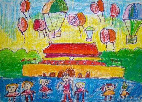 小学生国庆节图画作品展示