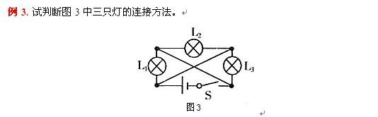 """解析:如图3所示电路,用""""断路观察法""""来判断,可以发现有""""断二通一""""或""""断一通二""""的特点,即在L1、L2、L3中任意断开两个(或一个),其他一个(或两个)能构成通路。故知L1、L2、L3为并联。   用这种方法分析有关""""黑箱子""""问题也较容易。例如,有两个灯座接在电源上,安装两个完全相同的灯泡,并都能发光,如不用任何仪器,你又不能看到电路的连接,怎样确定是串联还是并联呢?"""