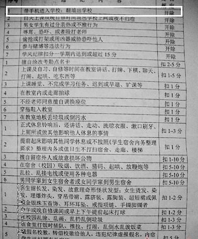 广西一中学20多名学生因带手机入校园被开除图片