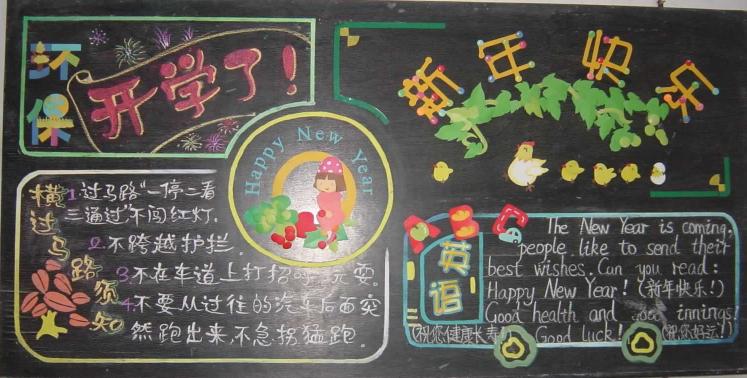 关于元旦的黑板报——新年快乐