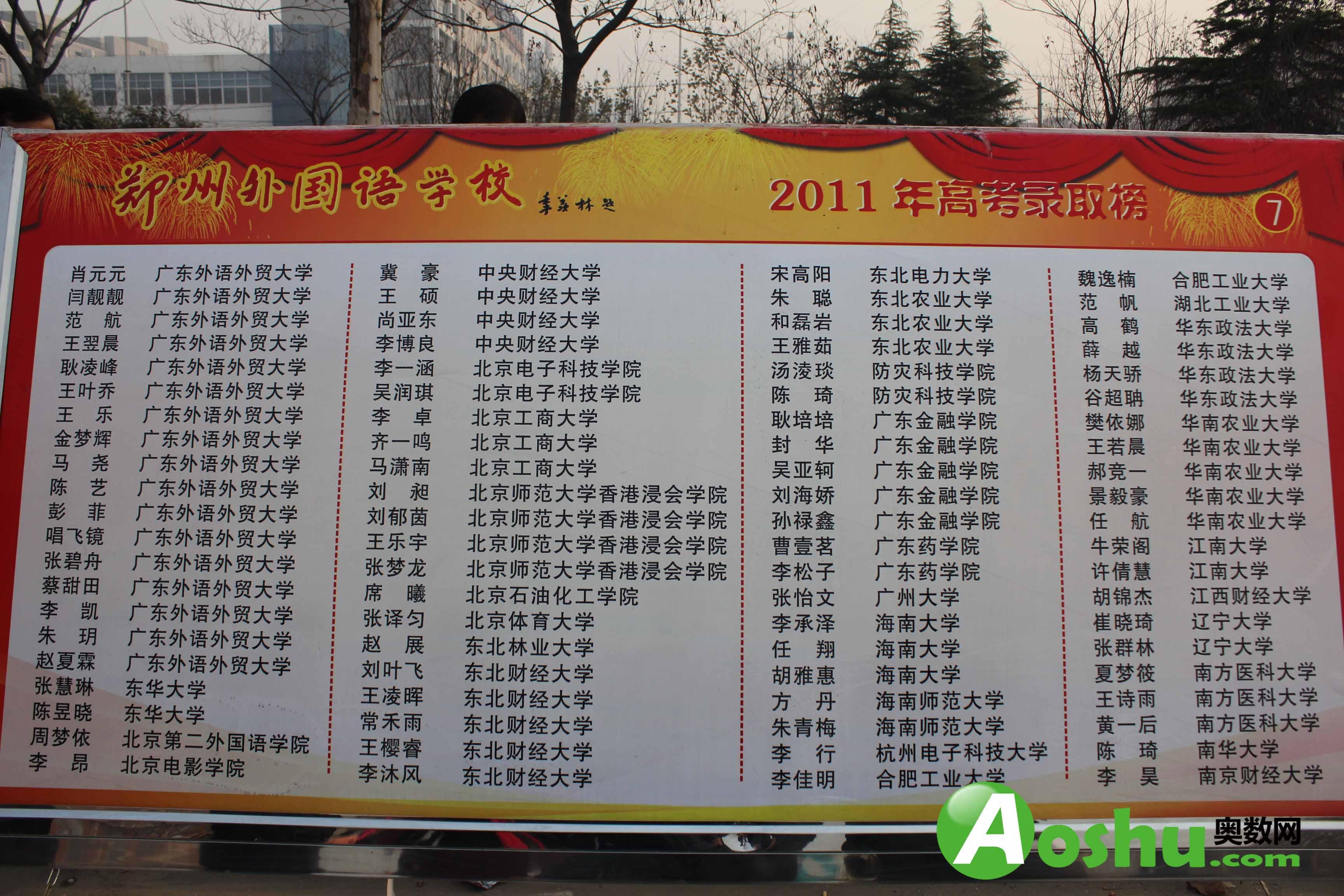 郑州外国语学校2011年高考成绩_郑州奥数网