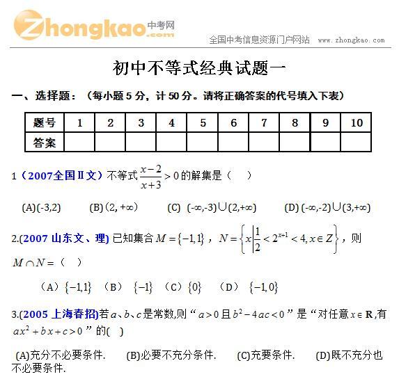 初中不等式经典试题一_中考网