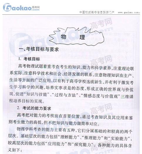 2012年北京高考考试说明:物理