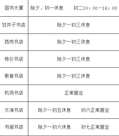大连书店春节营业时间表