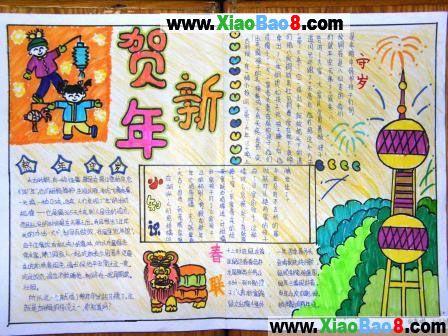 小学生春节手抄报素材:贺新年