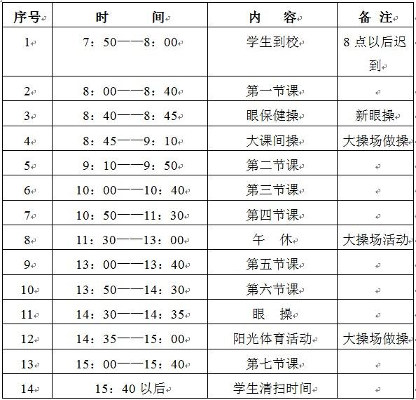 大连甘井子各小学2011-2012第二学期作息时间表
