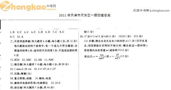 2011年天津河东区中考一模物理试卷答案