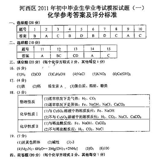 2011年天津河西区中考一模化学试卷答案