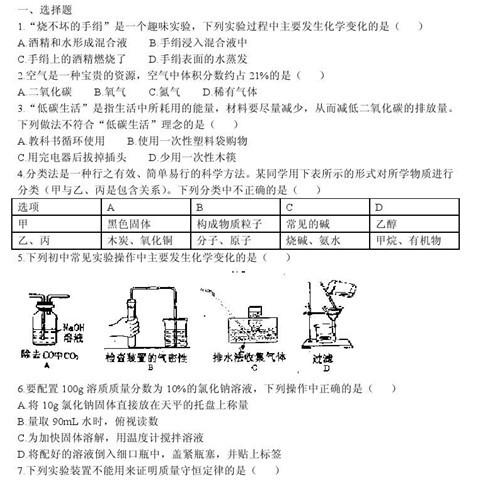 2011年南开区初中毕业生学业质量调查化学试卷(一)