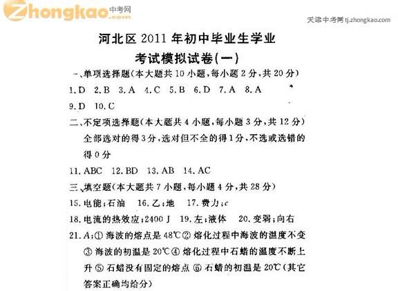 2011年天津市河北区初中毕业生学业考试模拟物理试卷(一)答案