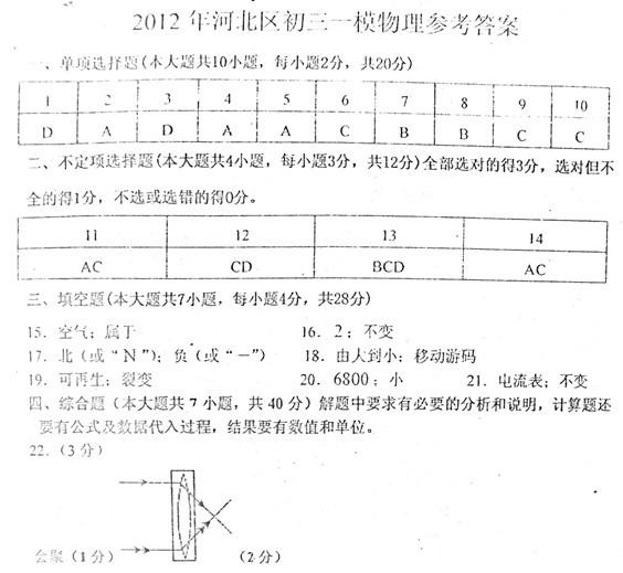 2012年河北区初中毕业生学业考试模拟试卷(一)
