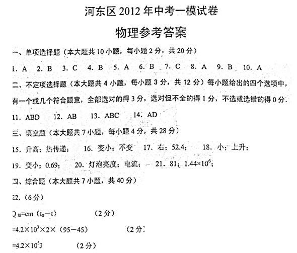 天津市河东区2012年九年级第一次模拟考试物理答案