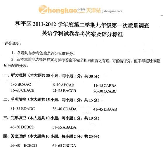 2012年天津和平区中考一模英语试题答案