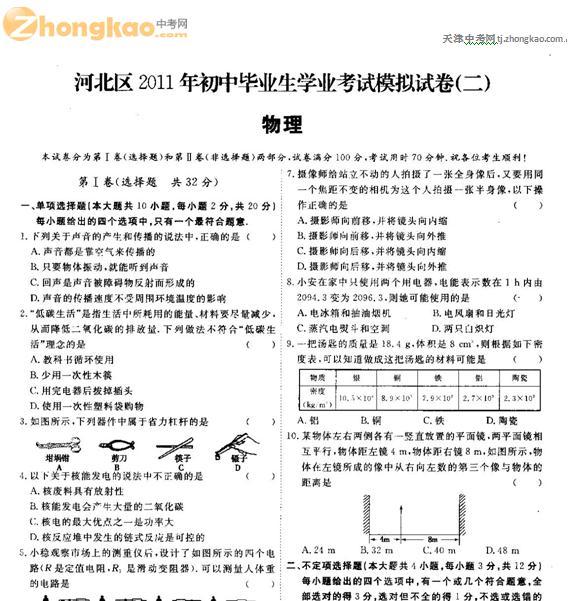2011年河北区中考二模物理试题