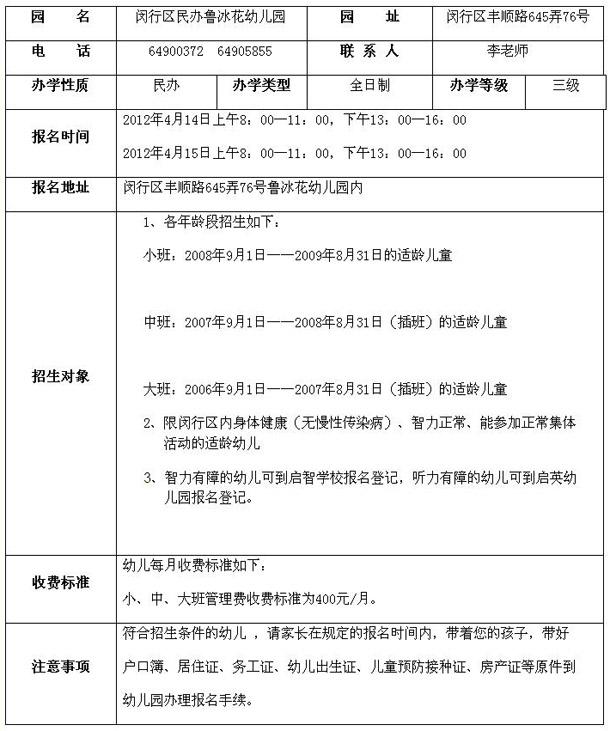 2012年闵行区鲁冰花幼儿园招生简章